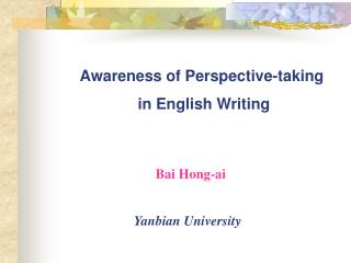 Awareness of Perspective-taking  in English Writing
