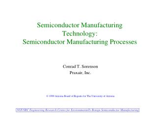 Semiconductor Manufacturing Technology:  Semiconductor Manufacturing Processes