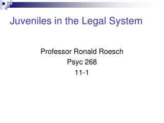 Juveniles in the Legal System