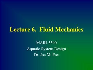 Lecture 6.  Fluid Mechanics