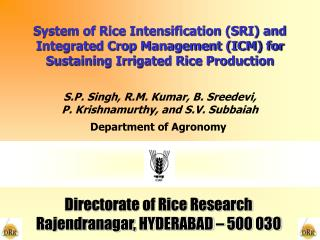 System of Rice Intensification SRI and Integrated Crop ...