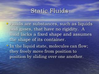 Static Fluids