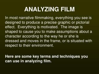 ANALYZING FILM