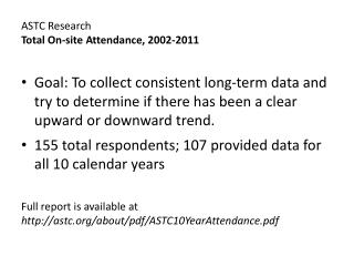 ASTC Research Total On-site Attendance, 2002-2011