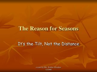 The Reason for Seasons