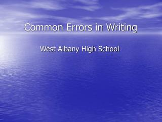 Common Errors in Writing