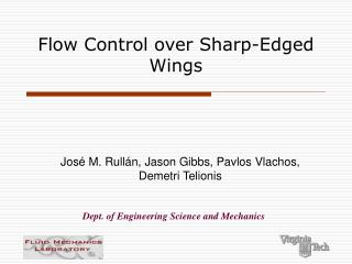 Flow Control over Sharp-Edged Wings