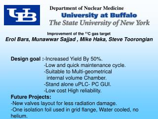 Improvement of the  11 C gas target  Erol Bars, Munawwar Sajjad , Mike Haka, Steve Toorongian