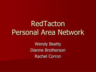 RedTacton Personal Area Network