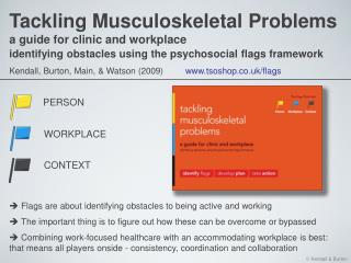 Tackling Musculoskeletal Problems a guide for clinic and workplace  identifying obstacles using the psychosocial flags