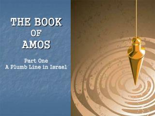 THE BOOK  OF AMOS Part One A Plumb Line in Israel