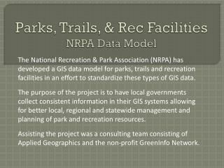 Parks, Trails, &  Rec  Facilities NRPA Data Model