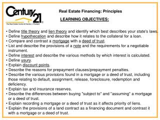 Real Estate Financing: Principles