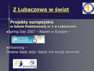 Projekty europejskie w Szkole Podstawowej nr 1 w Lubaczowie