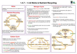 1.4.7 � 1.4.8 Niche & Nutrient Recycling