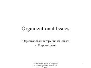 Organizational Issues