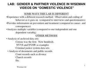 "LAB:  GENDER & PARTNER VIOLENCE IN WISEMAN   VIDEOS ON ""DOMESTIC VIOLENCE"""