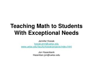 Teaching Math to Students With Exceptional Needs