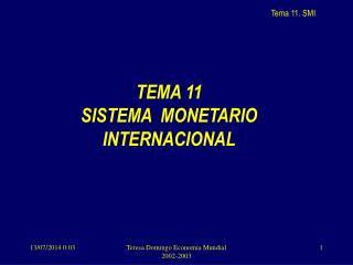 TEMA 11  SISTEMA  MONETARIO INTERNACIONAL