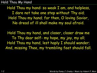 Hold Thou My Hand