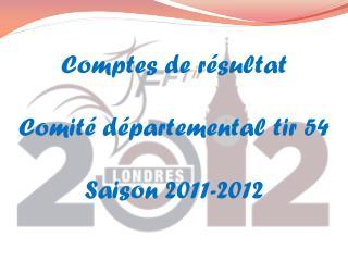 Comptes de résultat Comité départemental tir 54 Saison 2011-2012