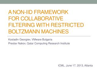 A non-IID Framework for Collaborative Filtering with Restricted Boltzmann Machines