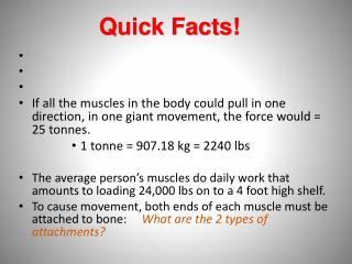 If all the muscles in the body could pull in one direction, in one giant movement, the force would = 25 tonnes. 1 tonne