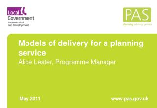 Models of delivery for a planning service
