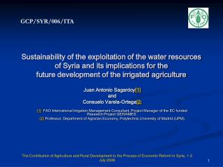 Sustainability of the exploitation of the water resources of Syria and its implications for the  future development of