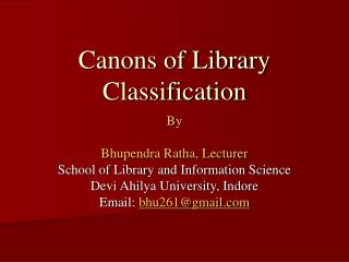 Canons of Library Classification