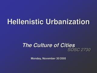 Hellenistic Urbanization