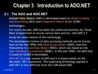 Chapter 3   Introduction to ADO