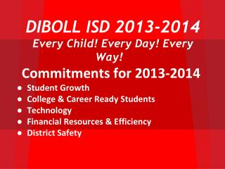DIBOLL ISD 2013-2014  Every Child! Every Day! Every Way!