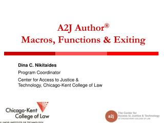 A2J  Author ® Macros, Functions & Exiting