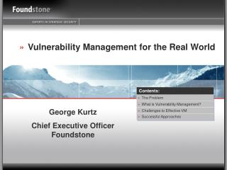 Vulnerability Management for the Real World