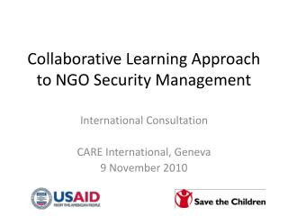 Collaborative Learning Approach to NGO Security Management