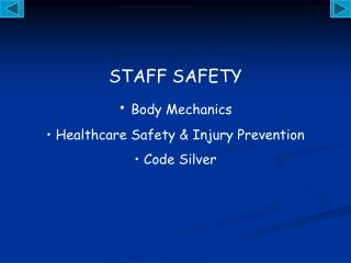 STAFF SAFETY Body Mechanics  Healthcare Safety & Injury Prevention  Code Silver