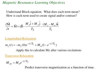 Magnetic Resonance Learning Objectives