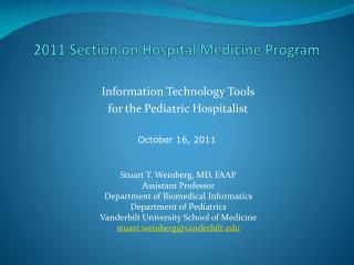 2011 Section on Hospital Medicine Program