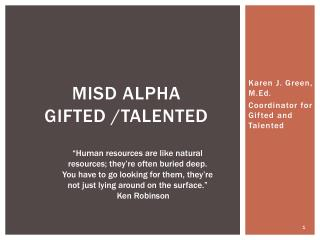 MISD ALPHA  Gifted /Talented