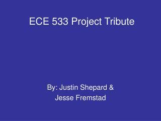 ECE 533 Project Tribute