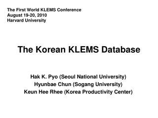 The Korean KLEMS Database