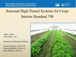 Seasonal High Tunnel Systems for  Crops Interim Standard 798