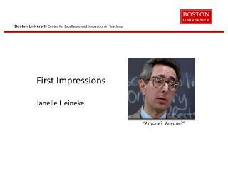 First Impressions Janelle Heineke