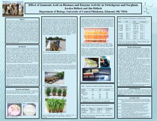 Effect of Jasmonic Acid on Biomass and Enzyme Activity in Switchgrass and Sorghum Jocelyn Bidlack and Jim Bidlack