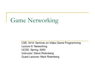 Game Networking
