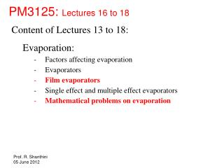 PM3125:  Lectures 16 to 18