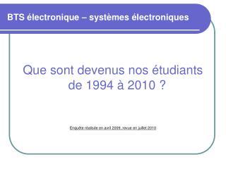 BTS électronique – systèmes électroniques