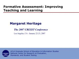 Formative Assessment: Improving Teaching and Learning