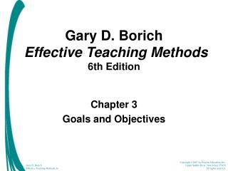 Gary D. Borich Effective Teaching Methods  6th Edition